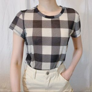 Rag & Bone Checkered Sheer Tissue T-shirt